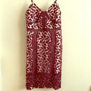 NWT burgundy and nude lace dress